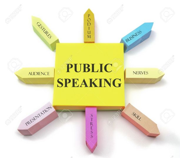 17685556-A-colorful-sticky-note-arrangement-shows-a-public-speaking-concept-with-gestures-podium-business-ner-Stock-Photo